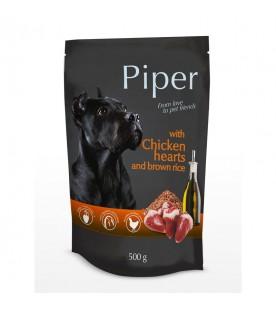 piper-chicken-hearts-brown-rice-hrana-umeda-pentru-caini-adulti-piper-cu-inimi-de-pui-si-orez-brun-500g